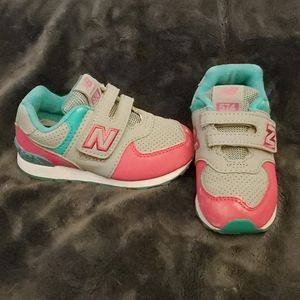 Grey/pink/teal velcro shoes